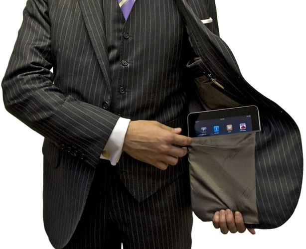 Custom suit with a pocket in the jacket to hold an iPad or tablet