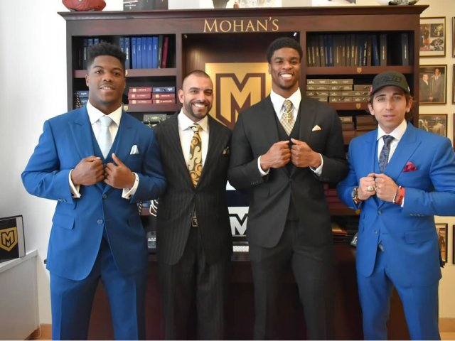 New England Patriots stars Brandon King and Obi Melifonwu, Sean Stellato , and Victor Mohan