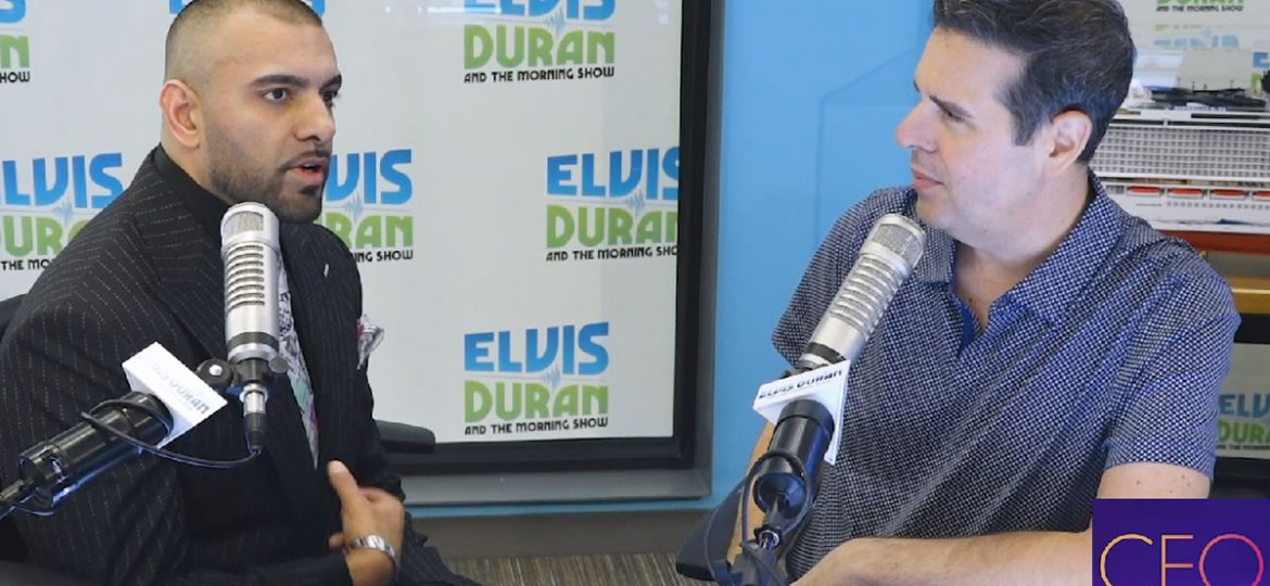 """Victor Mohan with host Skeery Jones on Z100's """"CEO Unplugged"""""""