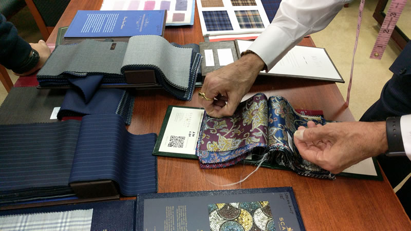 Close-up of fabric selection books